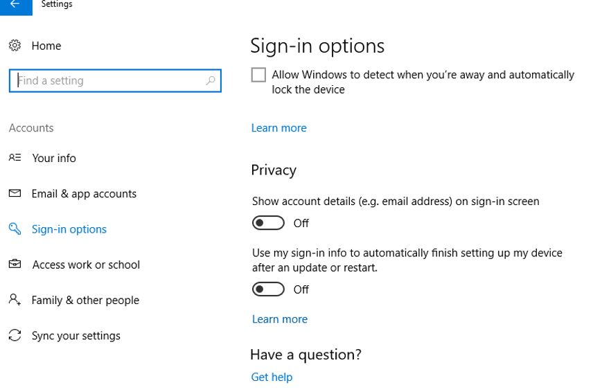 Disable Use my sign in info to automatically