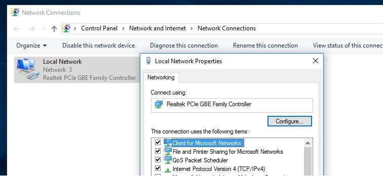 configure network adapter properties