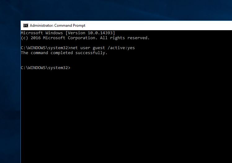 Enable guest account via Command Prompt