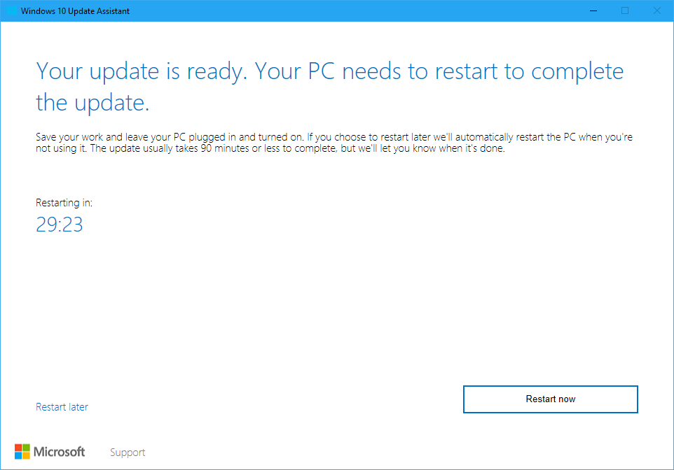 Restart to install windows 10 feature update
