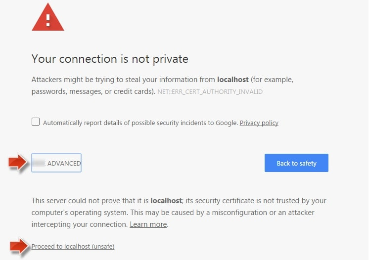 proceed unsafe on google chrome