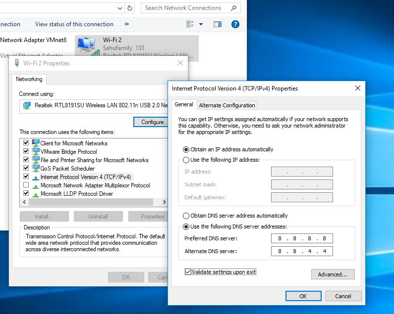 Change DNS server Address In Windows 10