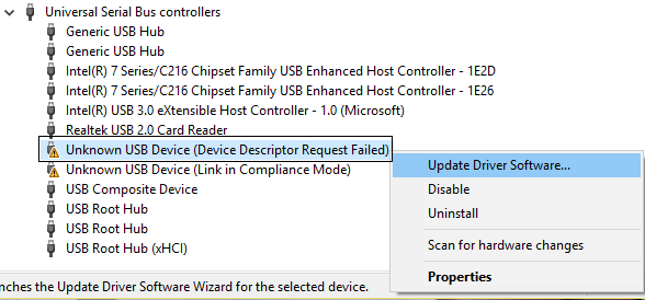 Update unknown usb device