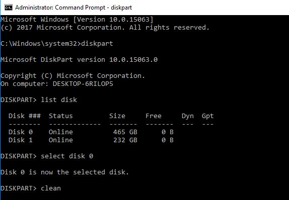 command to clean disk drive