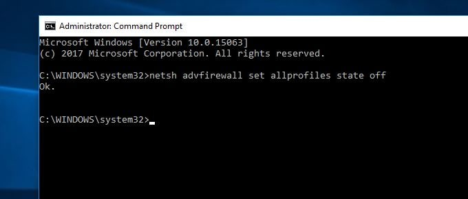 command to turn off Windows Firewall