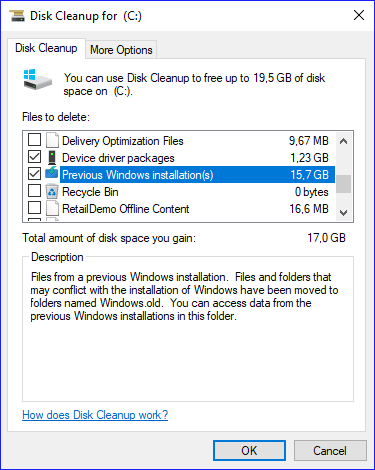 delete windows.old using disk cleanup utility