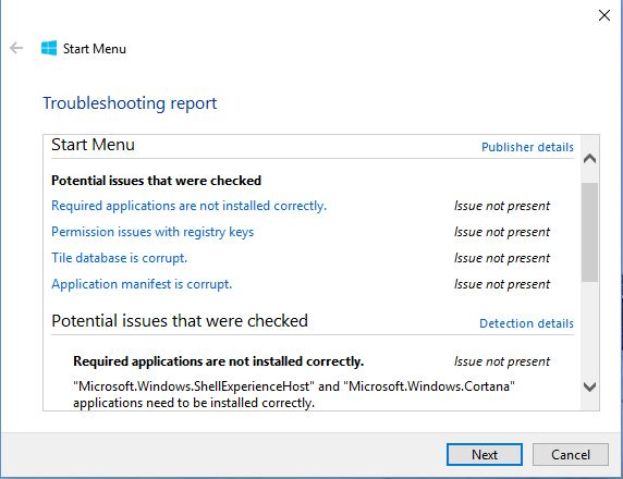 start menu Troubleshooting Results