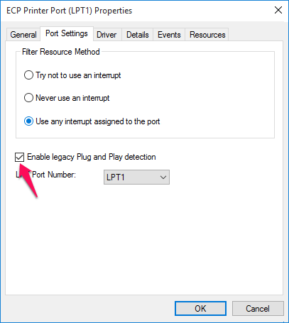 Enable legacy Plug and Play detection