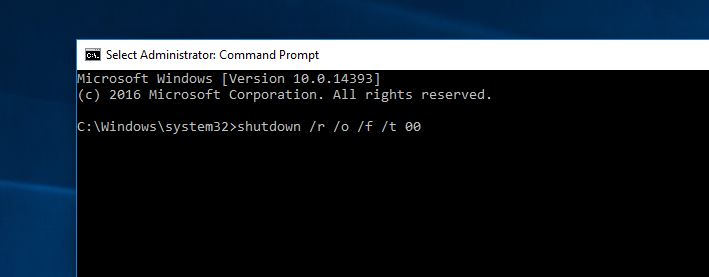Access Advanced startup options using Command Prompt