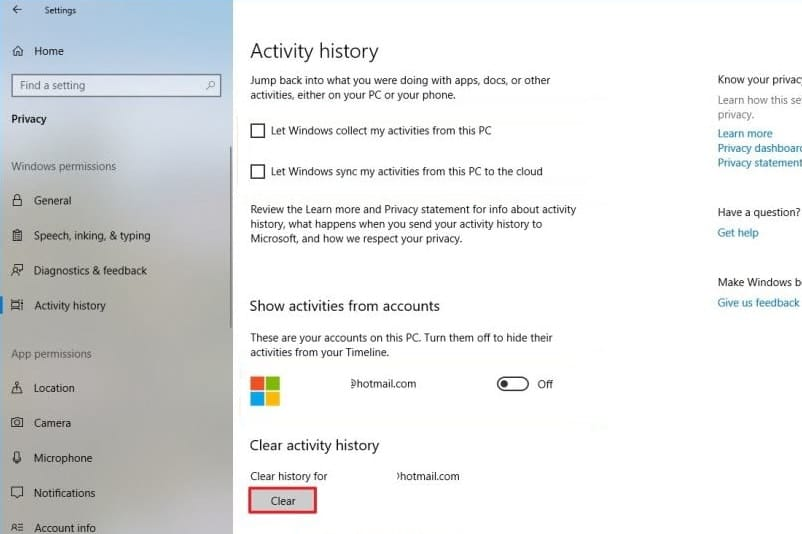 Disable Timeline in Windows 10