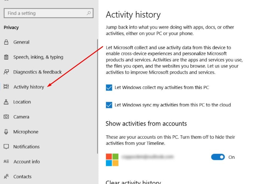 Enable Windows Time line Feature