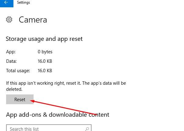 reset camera app to default setup