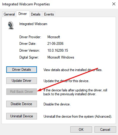 rollback webcam driver