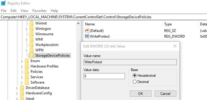 Tweak registry editor to remove write protection