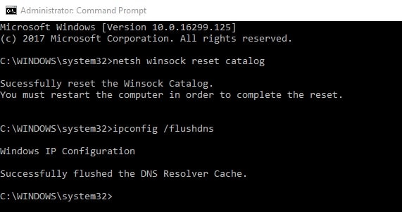 Winsock reset and flush DNS command
