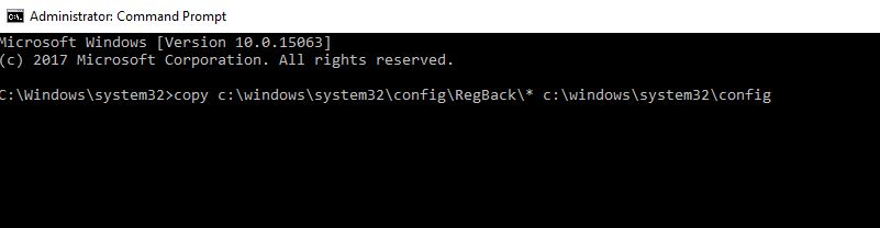 command to Restore Windows Registry