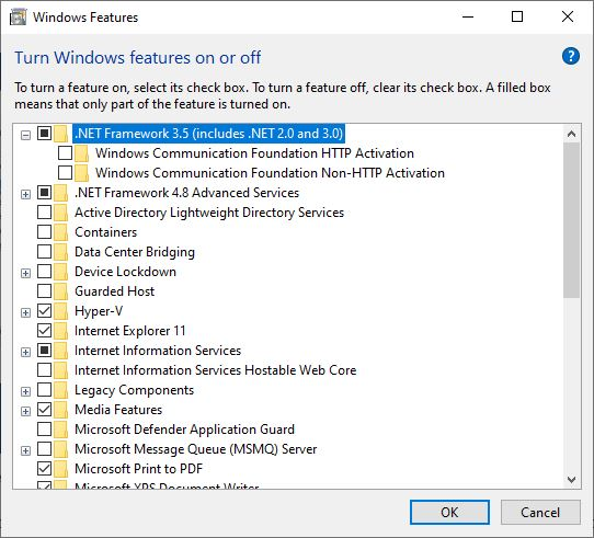 Enable the .NET Framework 3.5