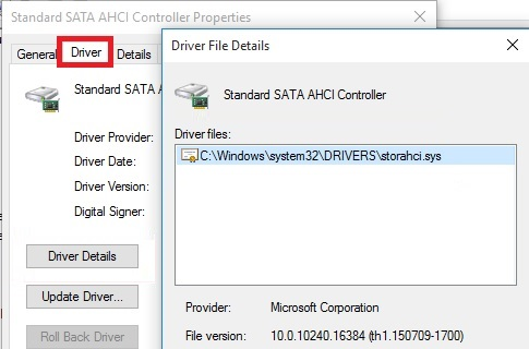 AHCI driver (StorAHCL.sys)