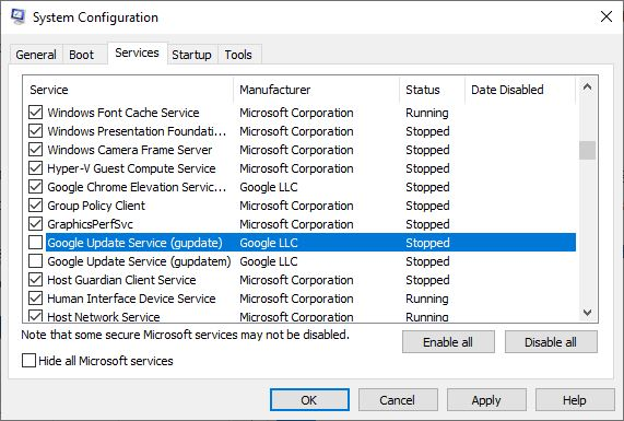 Disable Google Update Services