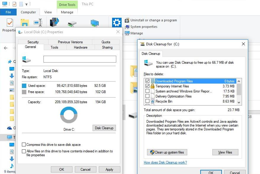 Disk Clean up system files