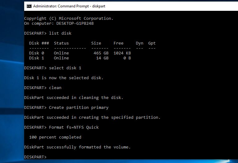 Format USB using Command prompt