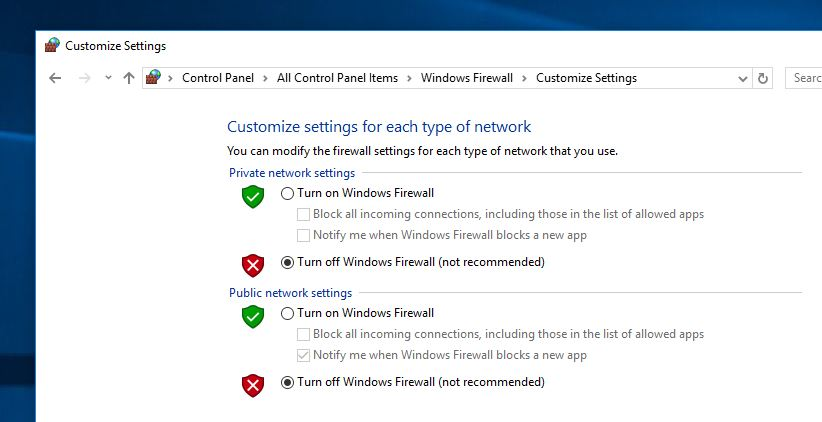 Turn off Windows firewall protection