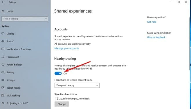 Turn on Nearby Sharing on Windows 10