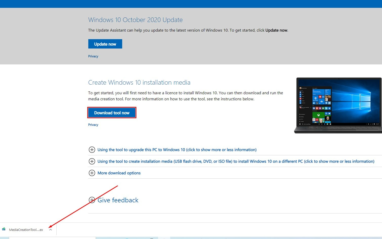 Windows 10 20H2 media creation tool