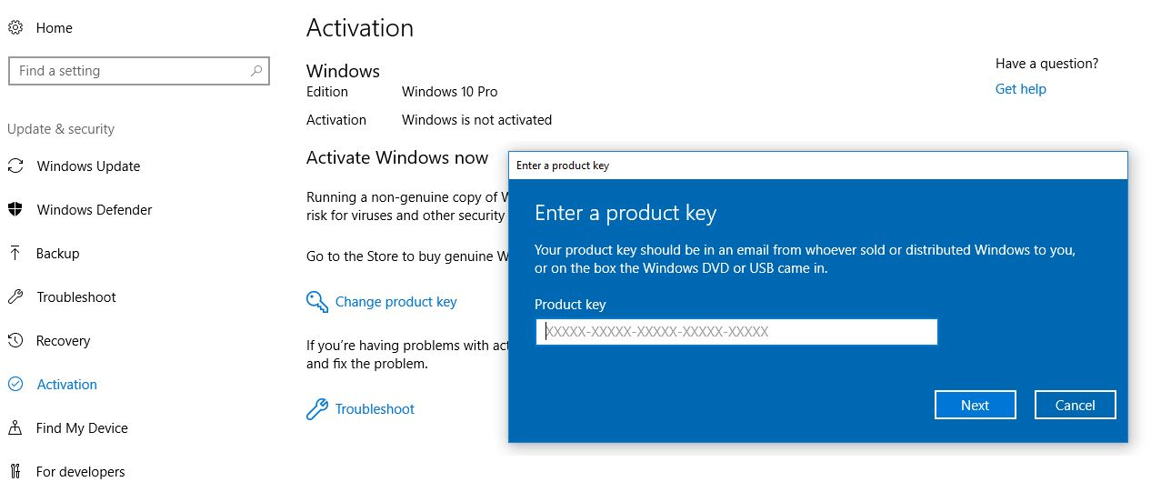 change product key on windows 10