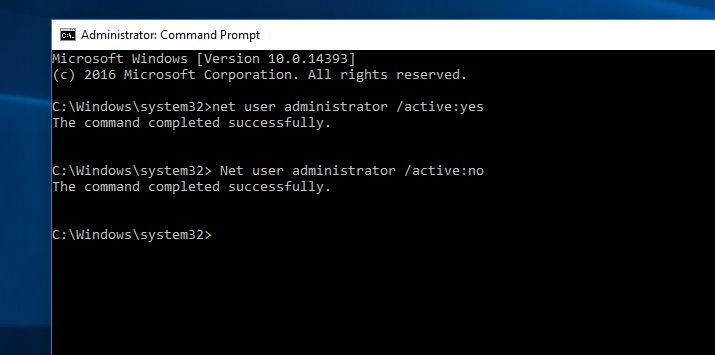 command to enable hidden administrator account