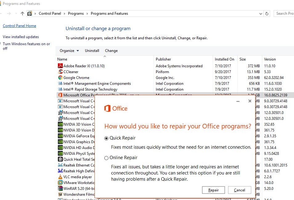 repair Ms office