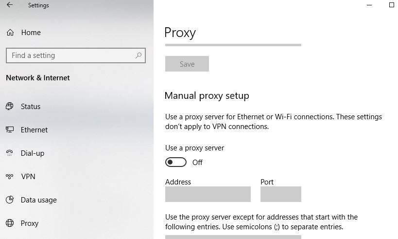 disable proxy
