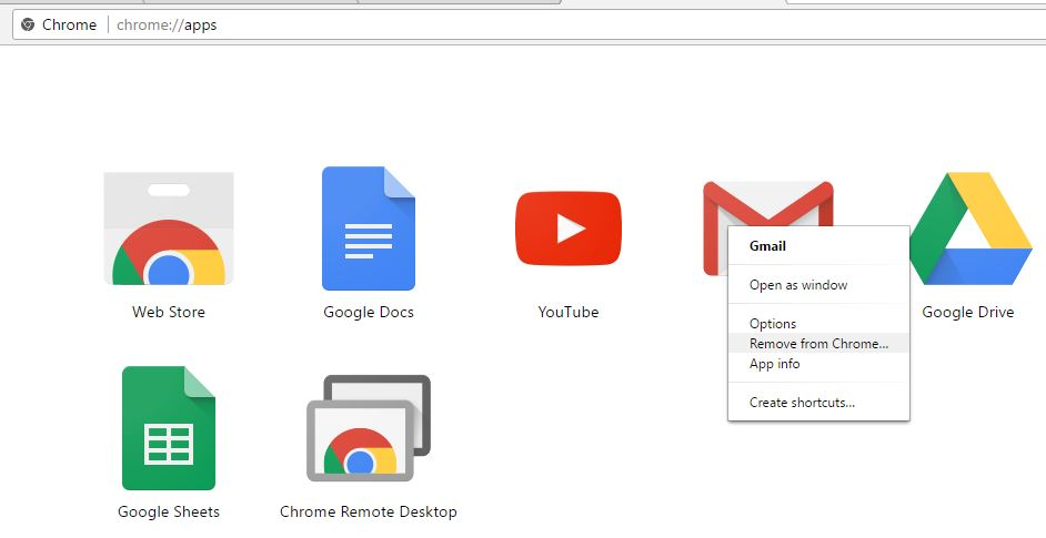 Remove Unnecessary Web Apps on chrome