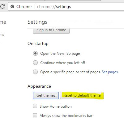 Run The Default Theme for chrome browser