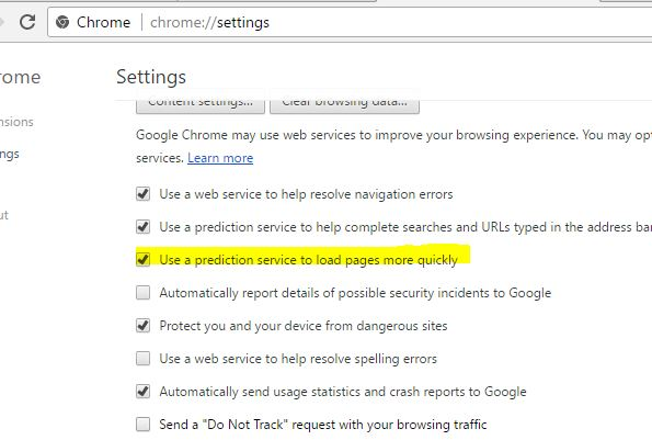 prediction Service on chrome browser