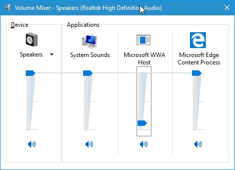 windows volume mixer
