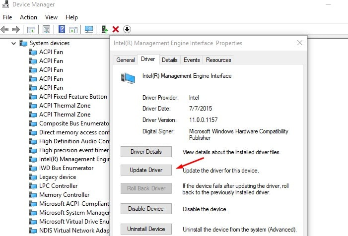 Update Intel Management Engine Interface driver