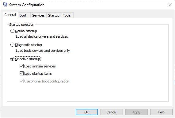 load selective Startup option