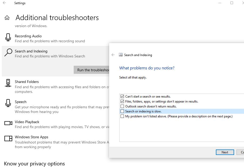 Search and indexing troubleshooter