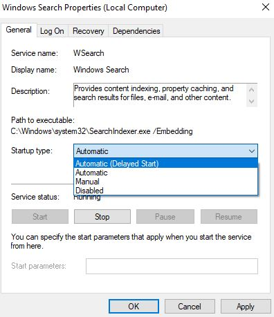 restart windows search service