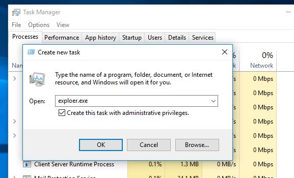 Start windows Explorer form Taskmanager