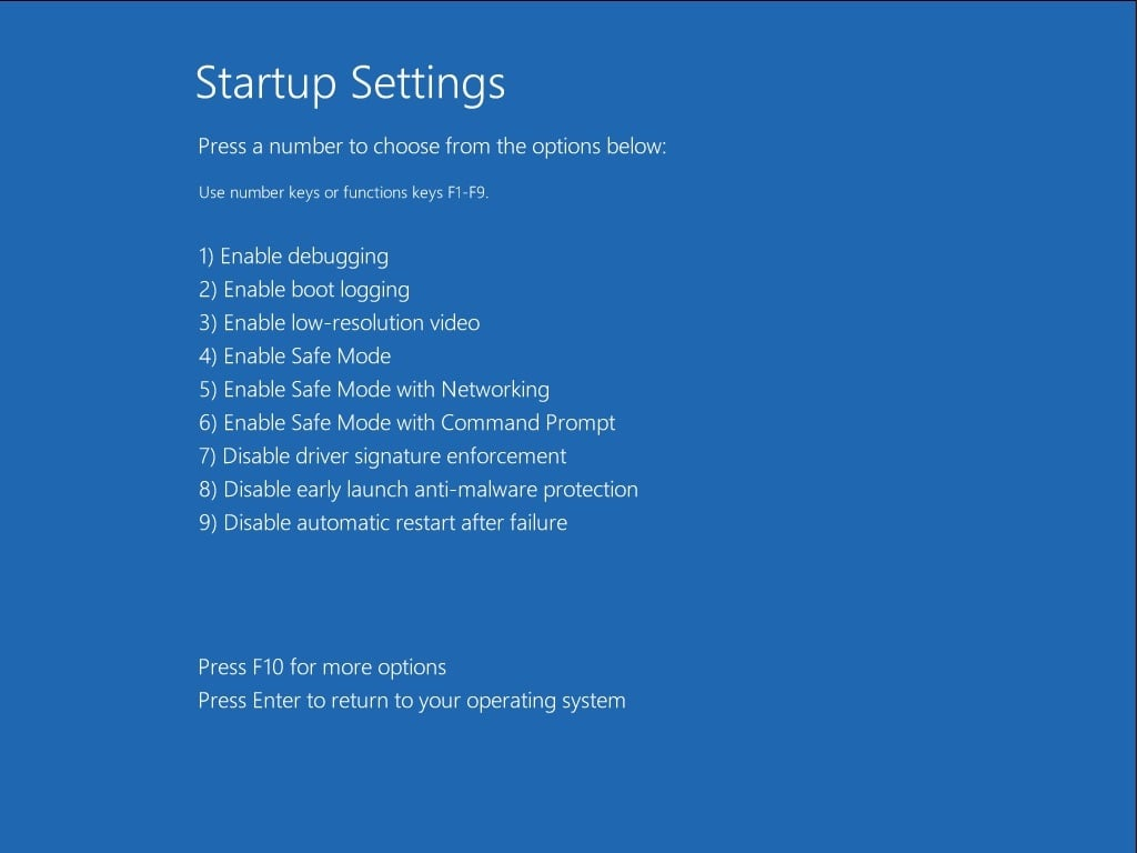 windows 10 safe mode boot option