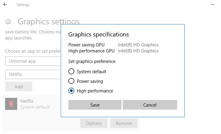 Allow graphics specification high