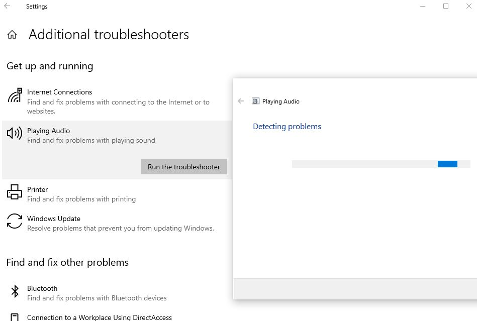 Audio troubleshooter