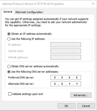 Configure DNS address manually