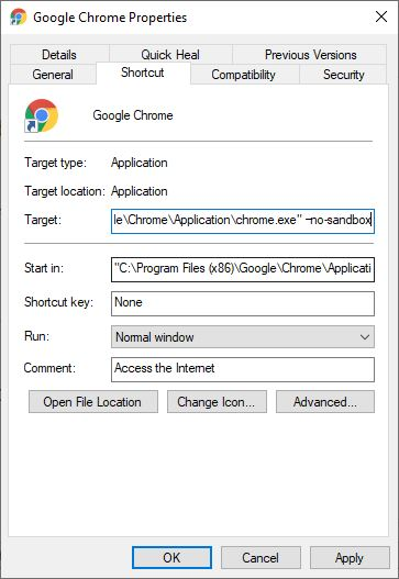 Chrome no sandbox