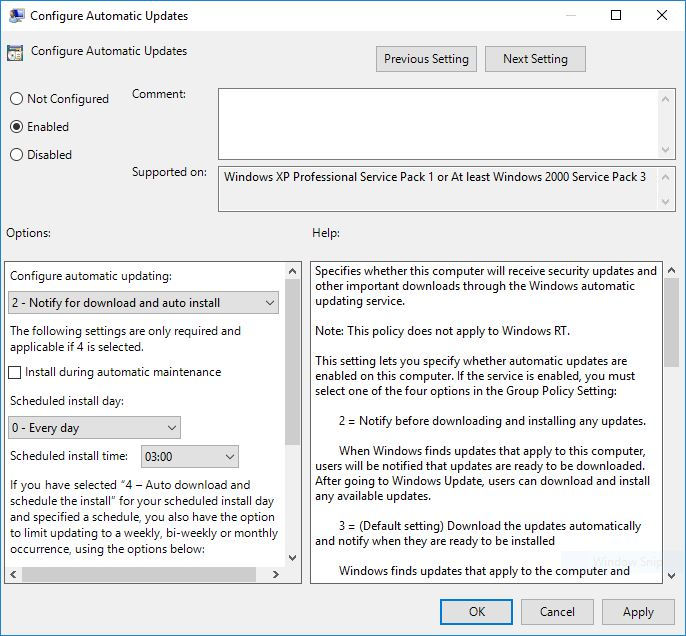 Group Policy Editor To stop windows 10 Update