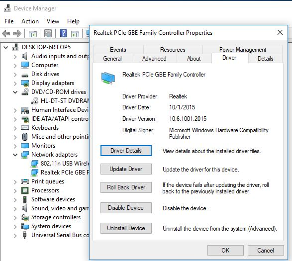 Roll back network Adapter driver