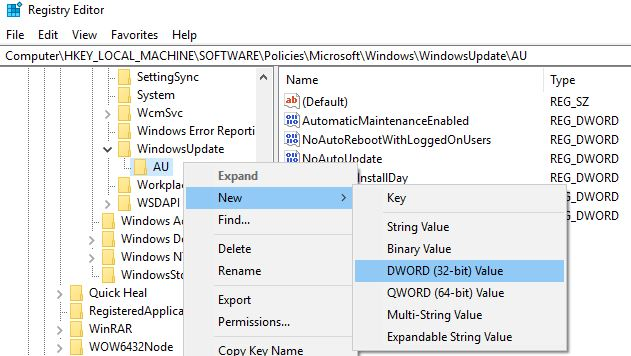 create Auoptions DWORD key