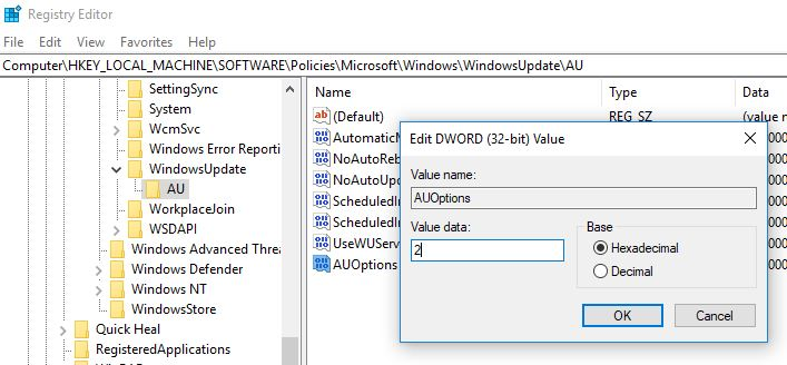 registry tweak to stop windows 10 update